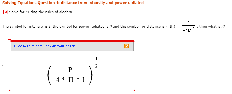 Solved Solving Equations Question 4 Distance From Intens