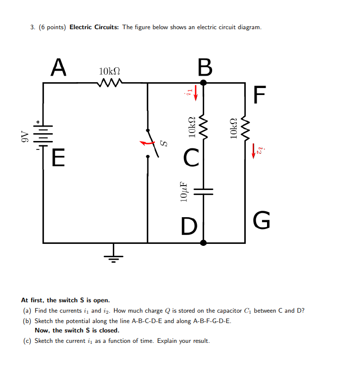 Solved: 3. (6 Points) Electric Circuits: The Figure Below ...