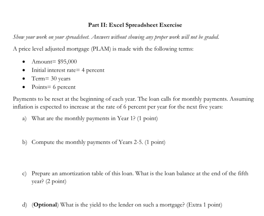 part ii excel spreadsheet exercise shou your work chegg com