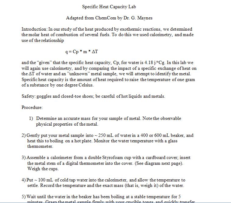 specific heat capacity lab conclusion