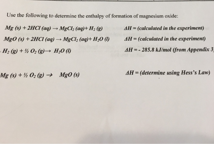 solved: use the following to determine the enthalpy of for