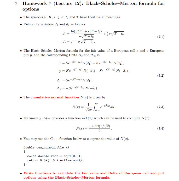 7 Homework 7 Lecture 12 Black Scholes Merton Fo Chegg