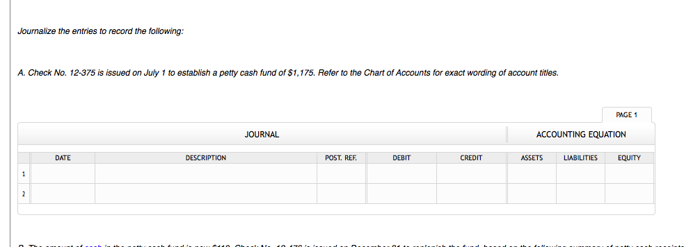 Accounting archive february 24 2018 chegg the entries to record the following refer to the chart of accounts for exact wording of account titles a on july 1 check no 12 375 is issued to fandeluxe Choice Image