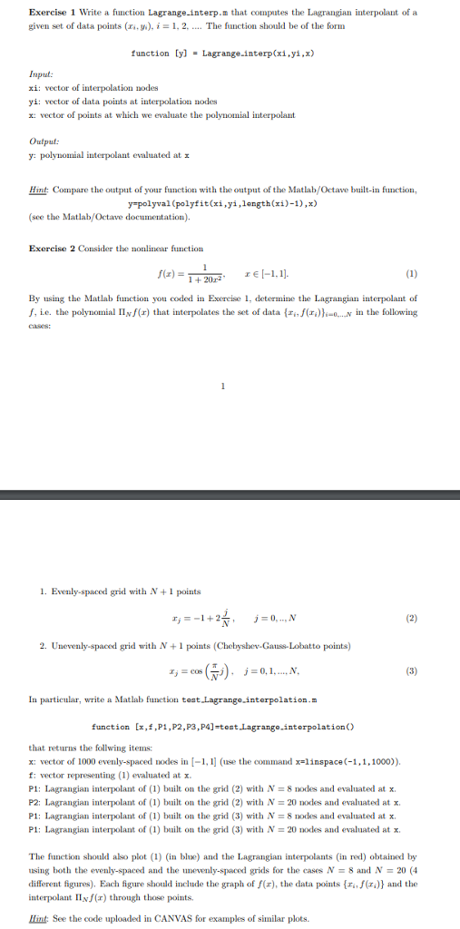 Solved: Exercise 1 Write A Function Lagrange interp m That