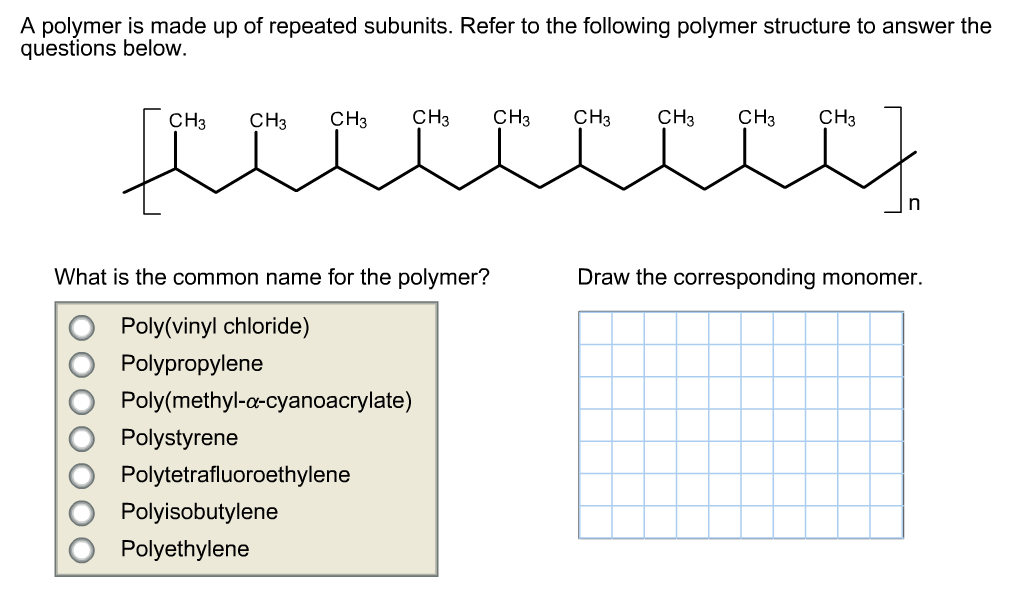 Solved: A Polymer Is Made Up Of Repeated Subunits  Refer T