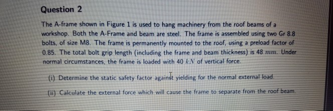 Solved: Question 2 The A-frame Shown In Figure 1 Is Used T ...