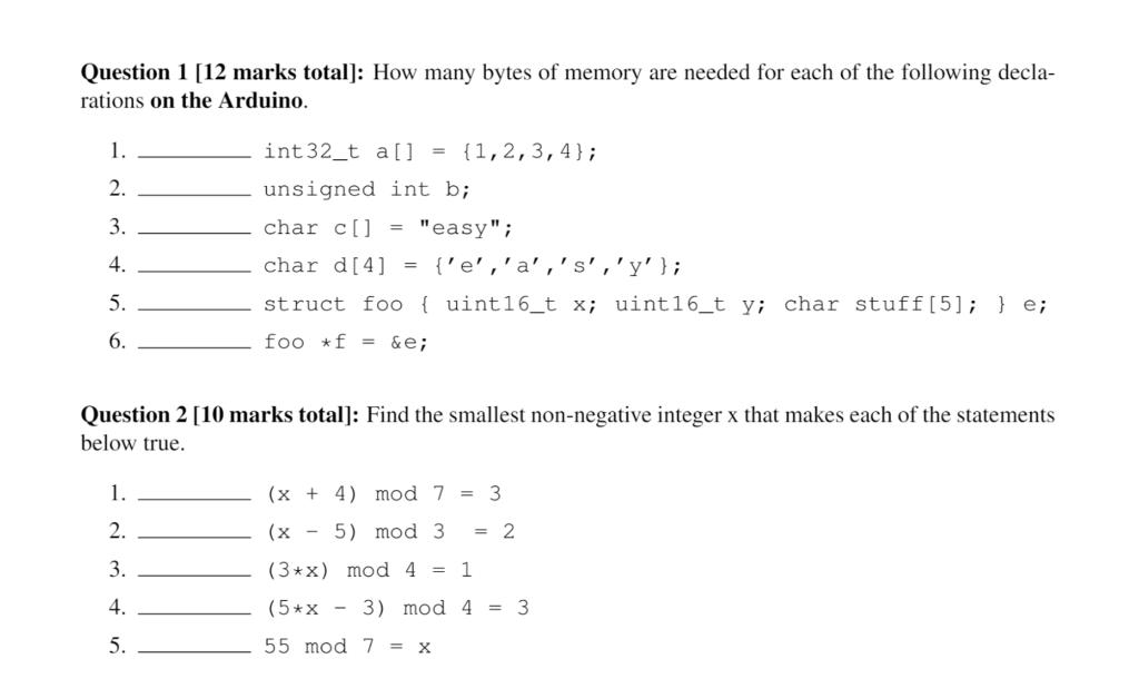 Solved: Question 1 [12 Marks Total]: How Many Bytes Of Mem