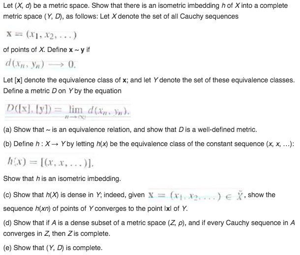 Solved Let X D Be A Metric Space Show That There Is A