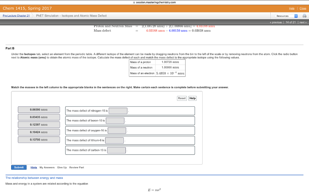 Solved Under The Isotopes Tab Select An Element From The