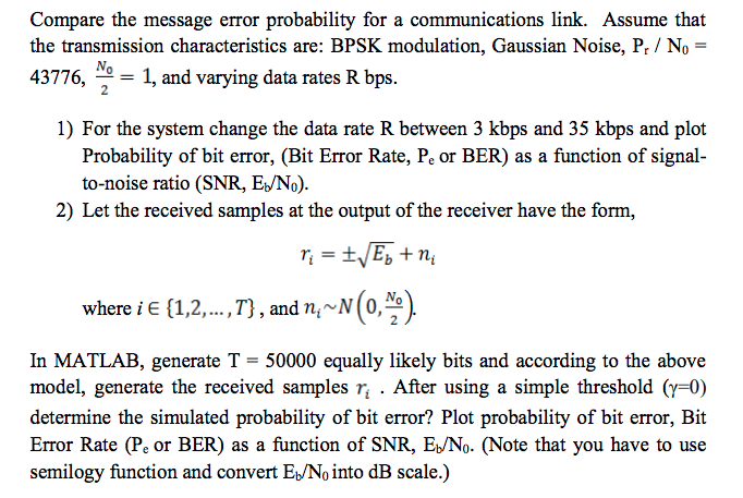Compare The Message Error Probability For A Commun