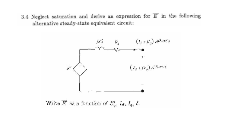 Solved: The Following Is A Question From Power System Dyna