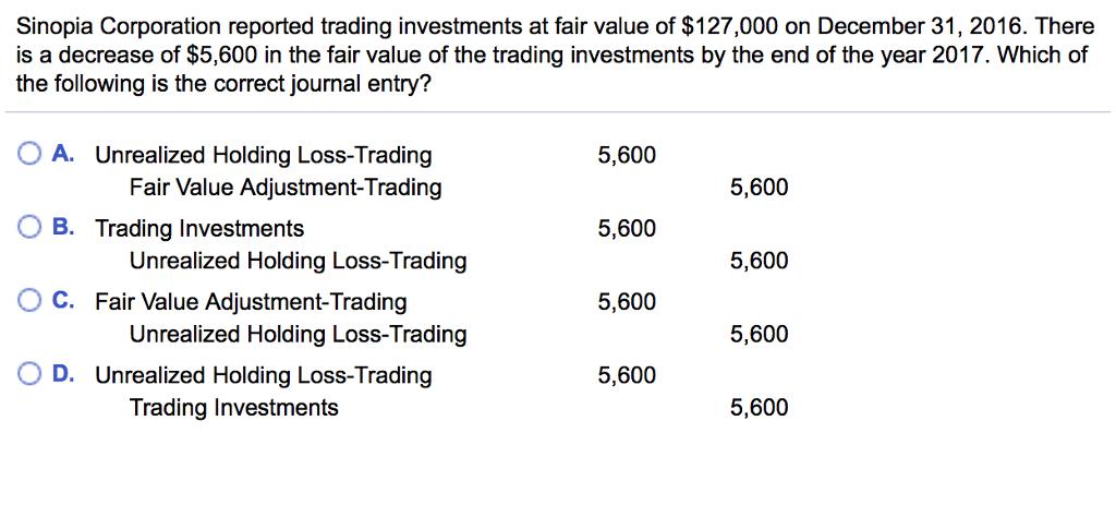 Fair value option trading securities