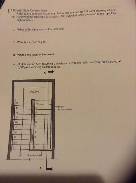 Refer To The School Stair Plan Below And Answer Th    | Chegg com