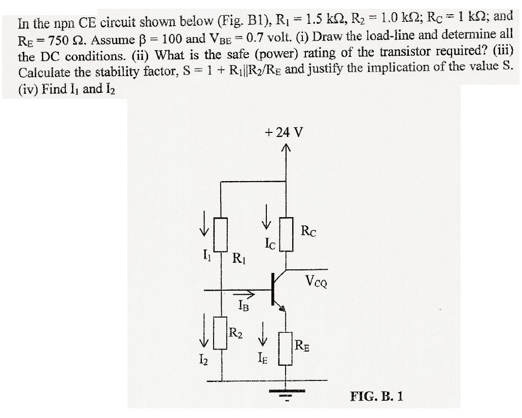 Solved In The Npn Ce Circuit Shown Below Fig B1 R1 Consider Series Rccircuit For Cheggcom