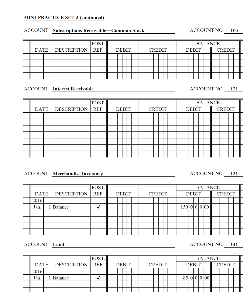 Mini-Practice Set 3 Corporation Accounting Cycle T ...
