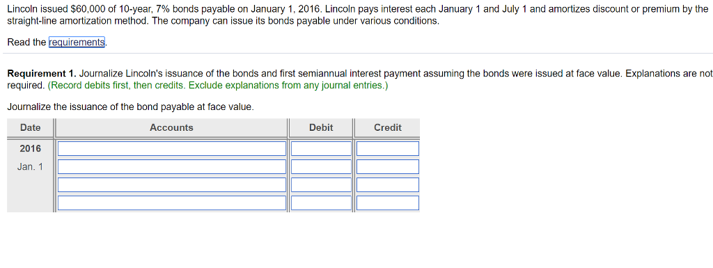 Solved Lincoln Issued 60000 Of 10 Year 7 Bonds Payabl