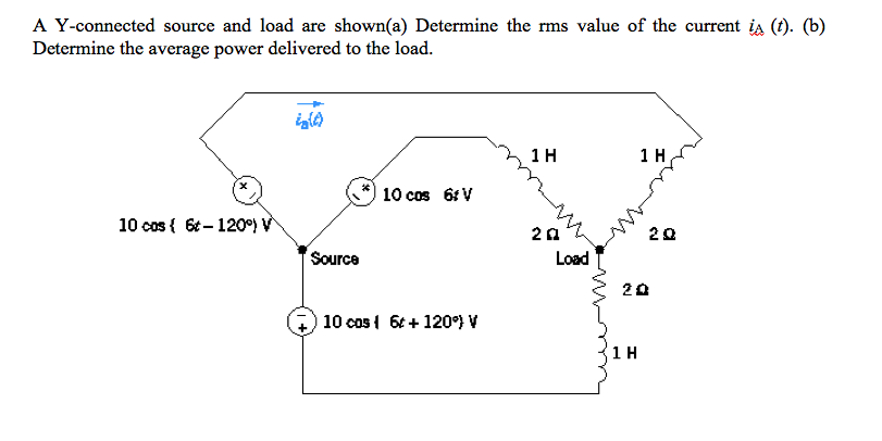 A Y-connected source and load are shown(a) Determine the rms value of the current iA (t). (b) Determine the average power delivered to the load. ーケ 1 H 1 H 10 cos 6tv 10 cosl 6t 120 2Ω 2Ω Source Load 2쇼 10 cos t 120°)V
