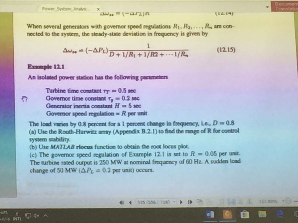 Decument Power System Analysx When Several Generat... | Chegg.com