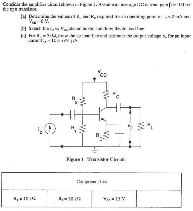 Solved: Consider The Amplifier Circuit Shown In Figure 1