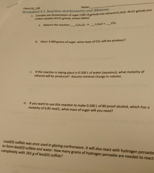 Solved Name Chem101 S18 Worksheet 41 Reaction Stoichio