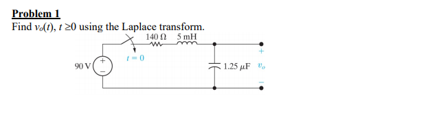 Problem1 Find volt), t20 using the Laplace transform. 14012 5mH t=0 90 V 1.25 μF to