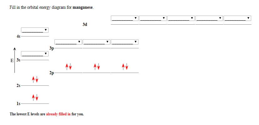 Solved  Fill In The Orbital Energy Diagram For Manganese