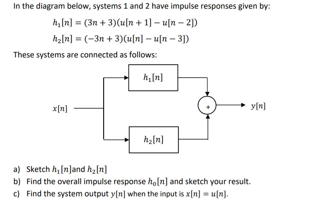 In the diagram below, systems 1 and 2 have impulse responses given by: h1 [n] (3n + 3)(u[n + 1]-u[n-2]) h2 [n] = (-3n + 3)(u[n]-u[n-3]) These systems are connected as follows: h In ylnl x[n] h2[n] a) Sketch h, [n]and h2[n] b) Find the overall impulse response ho[n] and sketch your result. c) Find the system output y[n] when the input is [nun
