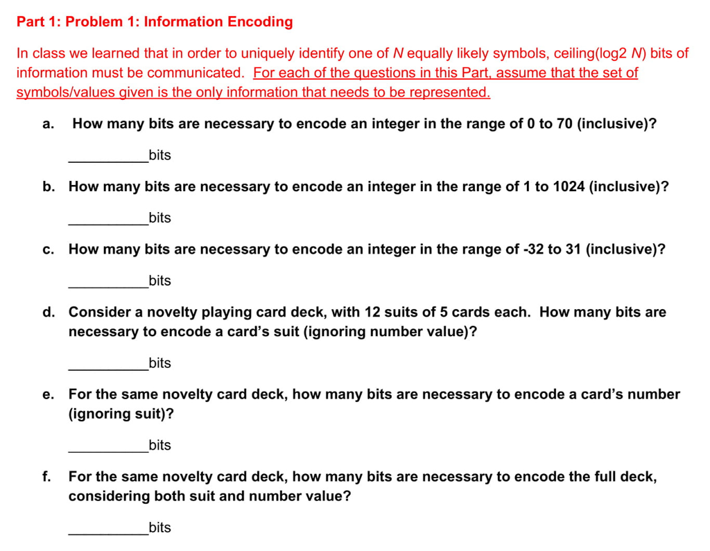 Solved Part 1 Problem 1 Information Encoding In Class W