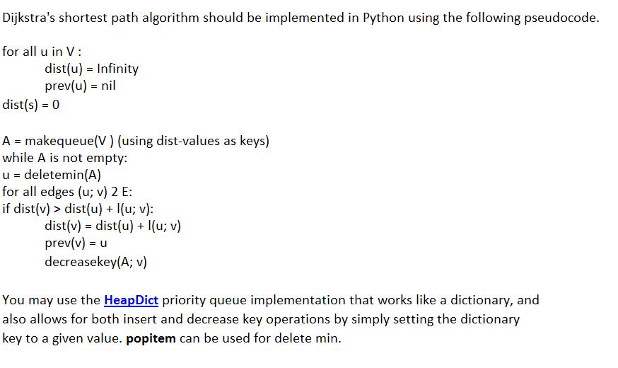Solved: Dijkstra's Shortest Path Algorithm Should Be Imple