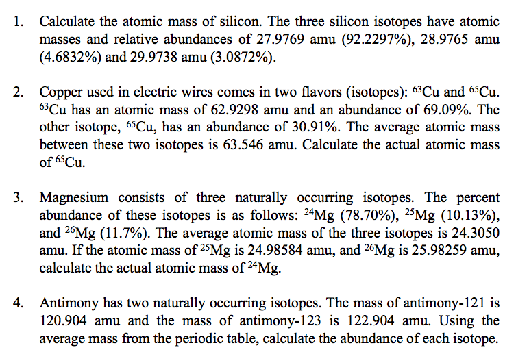 Solved Calculate The Atomic Mass Of Silicon The Three Si