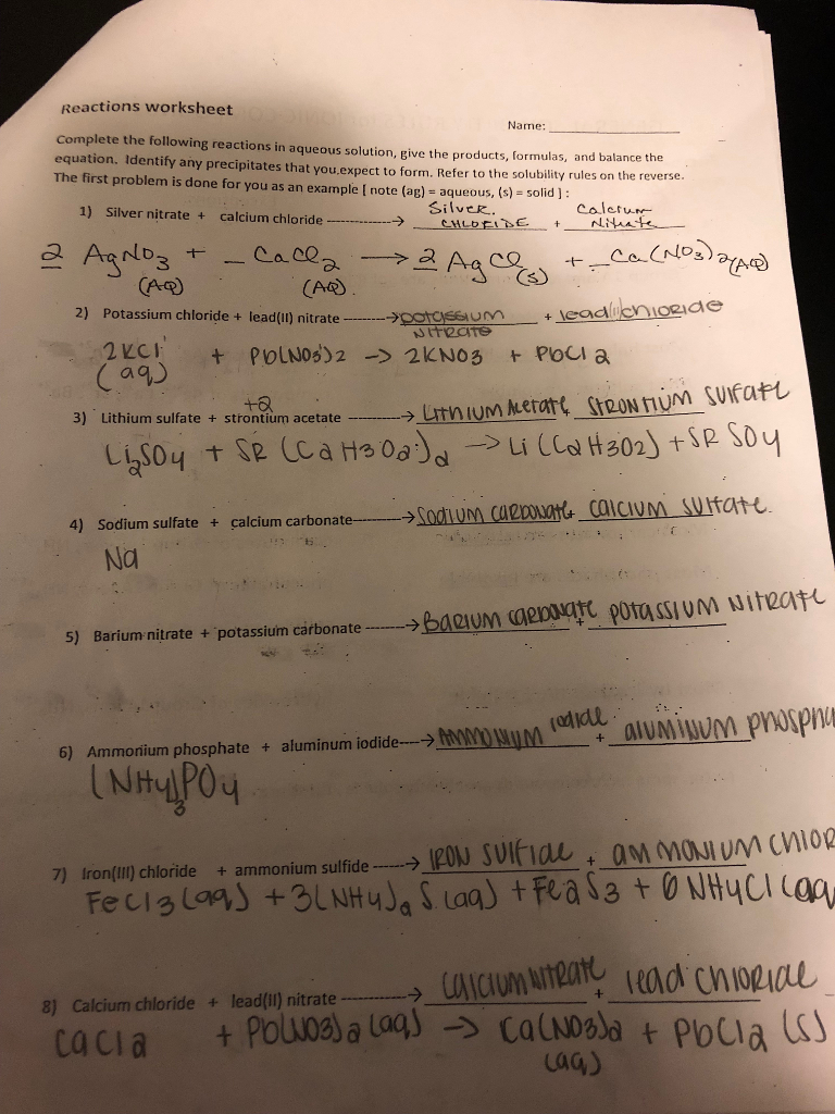 Chemical Reactions Worksheet Chemistry Answers General Types Of To in addition  further Chapter 8  Reactions in Aqueous Solution additionally grade 11 chemistry lab   exploring the 5 types of chemical reactions additionally Chapter 8  Reactions in Aqueous Solution furthermore  as well Vincent Mey High School in addition  together with Solved  Reactions Worksheet Name   plete The Following R additionally  together with Reaction of Aqueous Solutions Introduction   YouTube moreover Aqueous Reactions  Worksheet  1   WC Miller Collegiate moreover  furthermore Music Theory Worksheets Activities Spelling Phonics Ous Worksheets as well Grade 11 University Chemistry likewise Chapter 4  Reactions in Aqueous Solutions   Chapter 4 Reactions in. on reactions in aqueous solutions worksheet