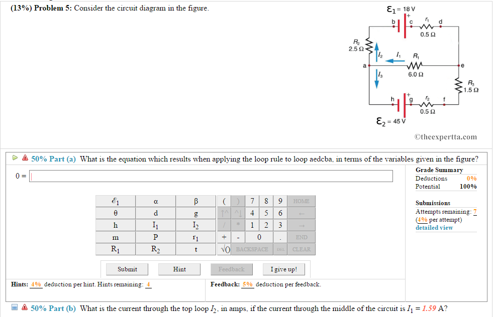Solved: 13%) Problem 5: Consider The Circuit Diagram In Th ...