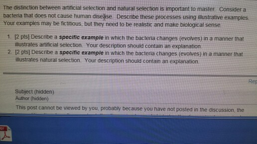 Solved The Distinction Between Artificial Selection And N
