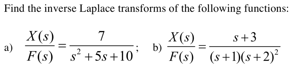 Solved: Find The Inverse Laplace Transforms Of The Followi... | Chegg.com