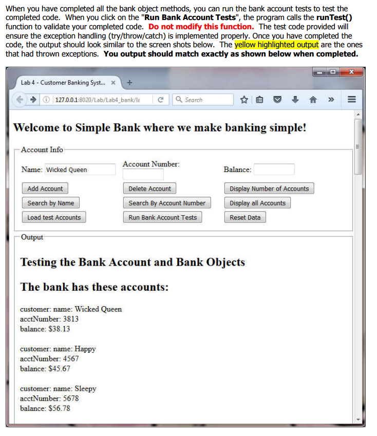 Test Banking Objects With Javascript An HTML  1  A