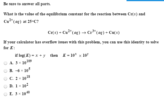 Solved: What Is The Value Of The Equilibrium Constant For