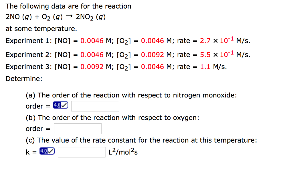 Solved: The Following Data Are For The Reaction 2NO (g ...