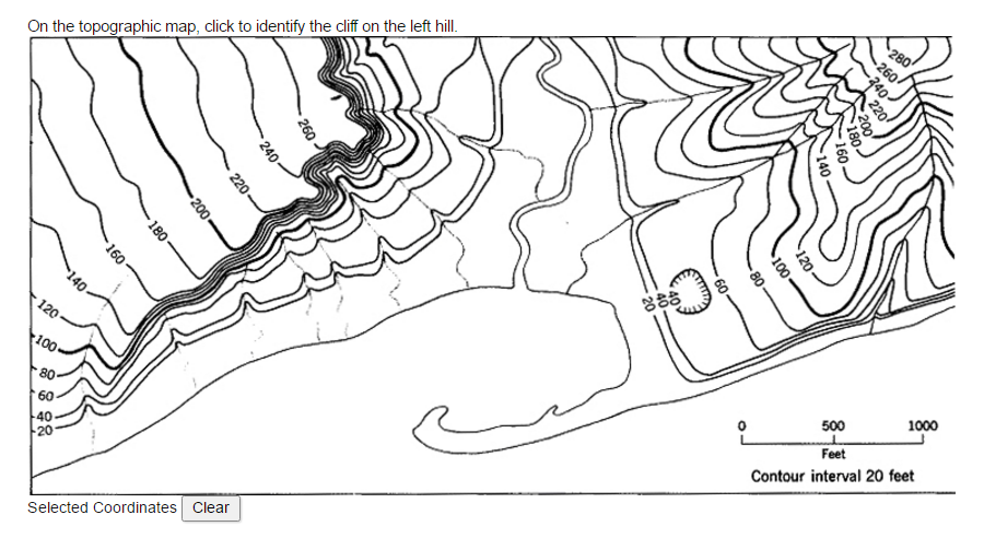 Hill Topographic Map.Solved On The Topographic Map Click To Identify The Clif