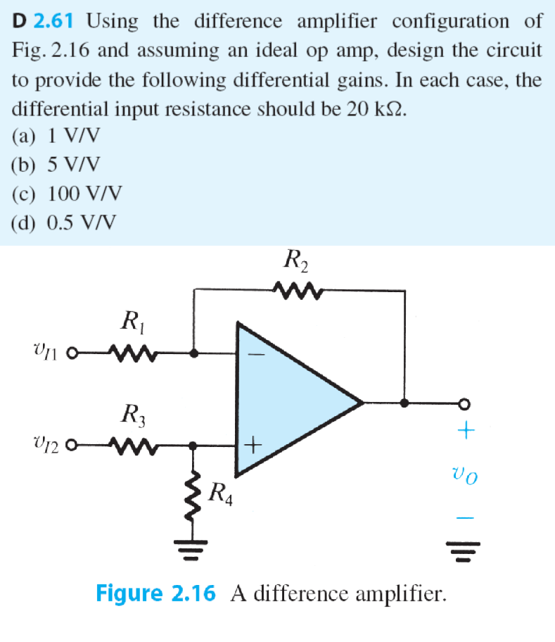 Solved D 261 Using The Difference Amplifier Configuratio