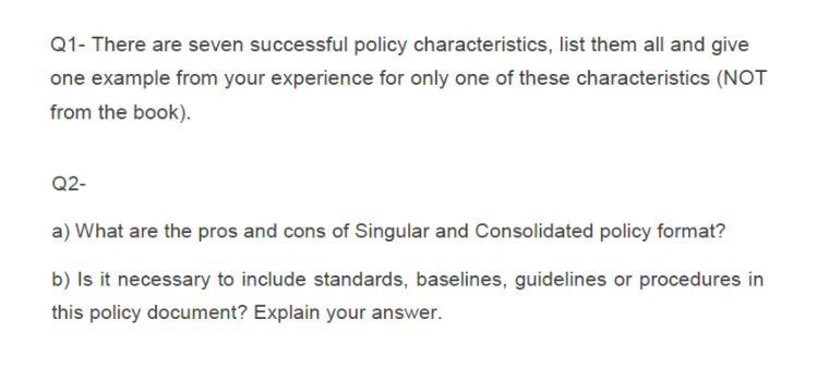 solved there are seven successful policy characteristics