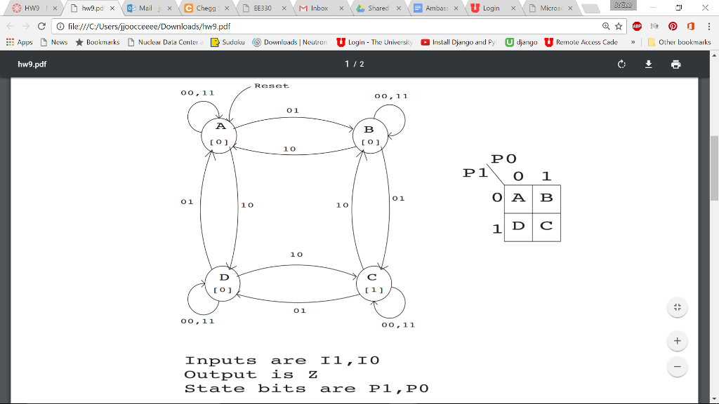 Solved Given The Following State Diagram And State Encod