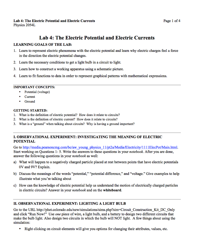 Solved Lab 4 The Electric Potential And Current Learning Electricity Circuits Currents Physics 2054l Page 1 Of