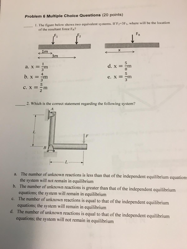 Solved: The Figure Below Shows Two Equivalent Systems  If