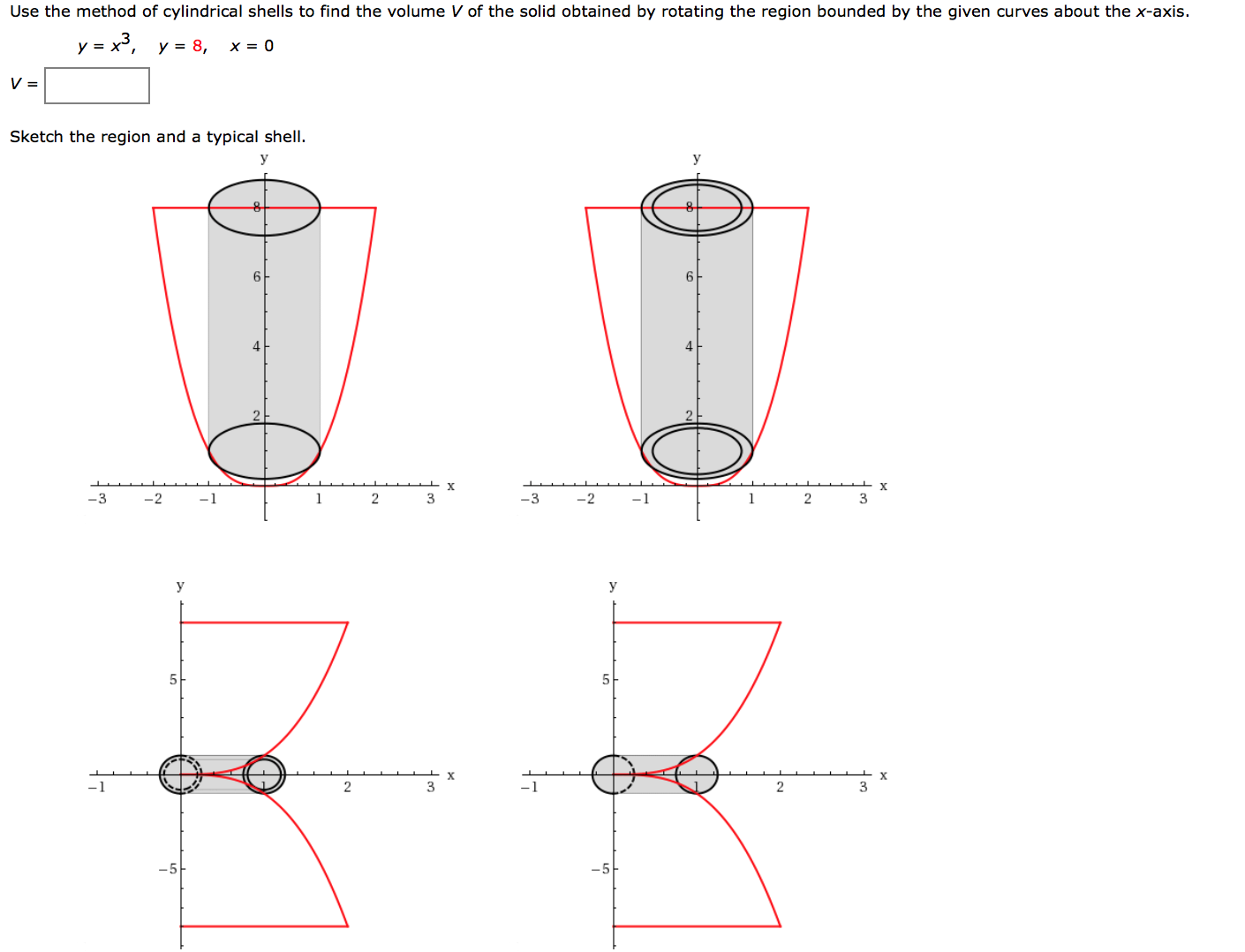 Let V Be The Volume Of The Solid Obtained By Rotating About The Yaxis The  Region Bounded And Y = Find V By Cylindrical Shells