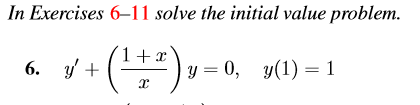 In Exercises 6-11 solve the initial value problem. value