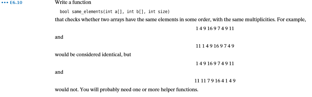 E610 Write A Function Bool Same Elementsint Al Int B
