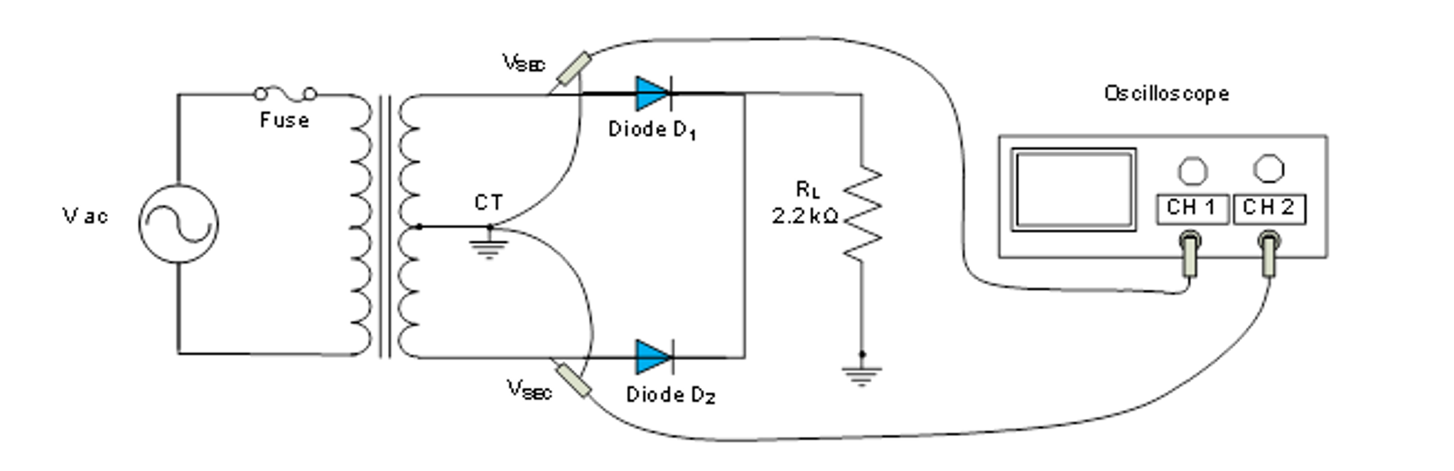 Review questions: Compare a bridge rectifier circuit with full-wave  rectifier center-tapped circuit which you did in Lab 2. Which circuit has  the higher ...