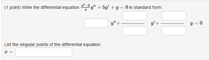 Solved Write The Differential Equation X2 9x Y 5y