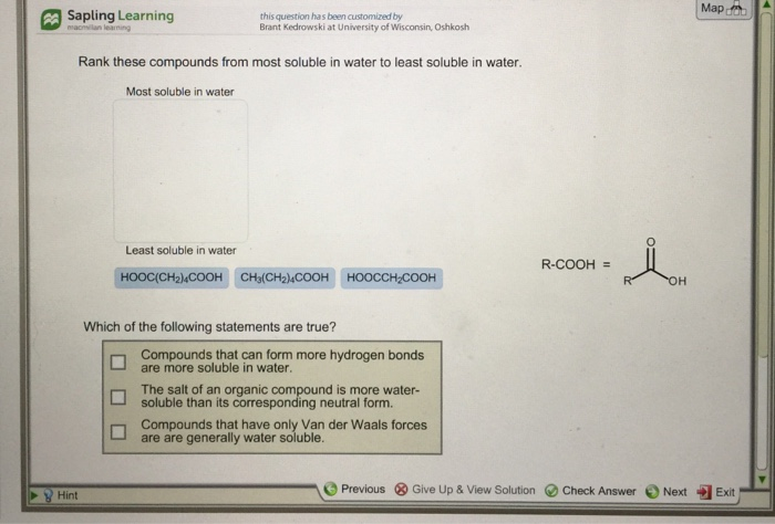 Solved: Determine whether each compound is soluble or   StudySoup