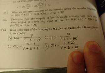 Solved: 132 Whur Are The Time Constants Of The Systems Giv ...